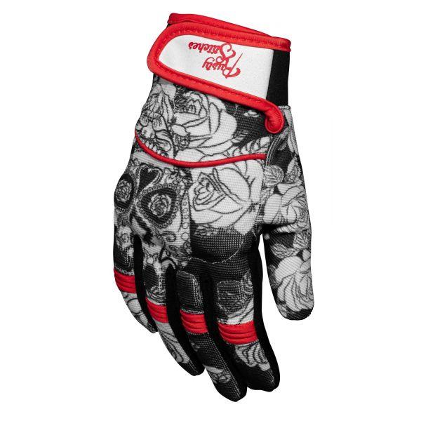 Manusi Moto Sport si Piele Rusty Stitches Manusi Textile Bonnie Skull Red 2020