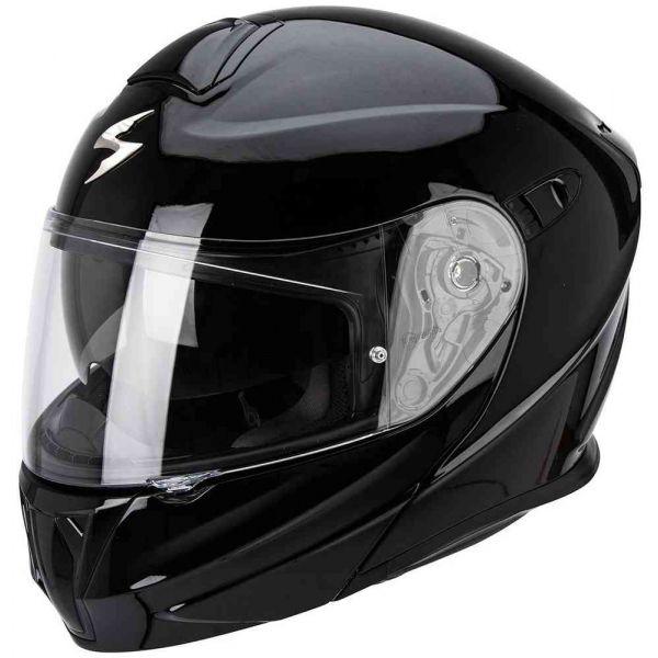 Casti Moto Flip-up (Modulabile) Scorpion Exo Casca Moto Flip-Up Exo 920 Solid Black Glossy