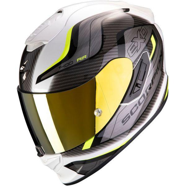 Casti Moto Integrale Scorpion Exo Casca Moto Full-Face Exo 1400 Air Attune White/Neon Yellow