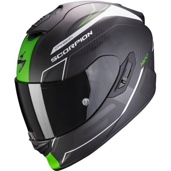 Casti Moto Integrale Scorpion Exo Casca Moto Full-Face Exo 1400 Carbon Air Beaux Matt White/Green