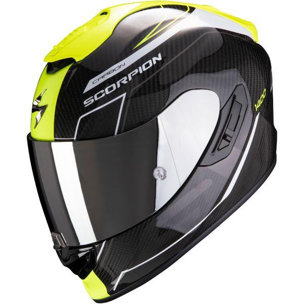 Casti Moto Integrale Scorpion Exo Casca Moto Full-Face Exo 1400 Carbon Air Beaux White/Neon Yellow