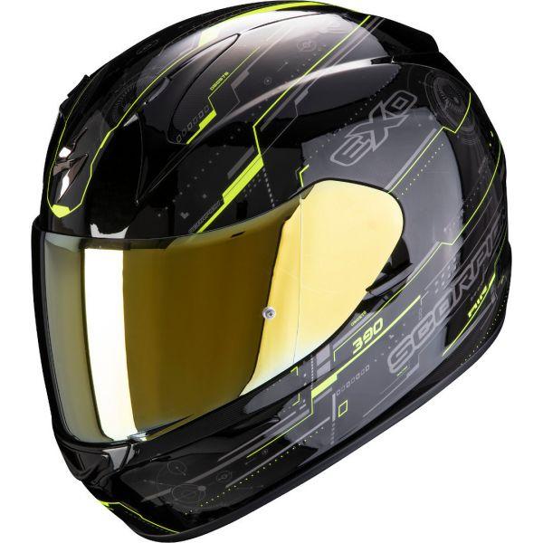 Casti Moto Integrale Scorpion Exo Casca Moto Full-Face Exo 390 Beat Black/Neon Yellow