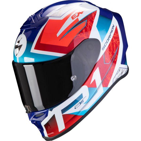 Casti Moto Integrale Scorpion Exo Casca Moto Full-Face Exo R1 Air Infini White/Red/Blue