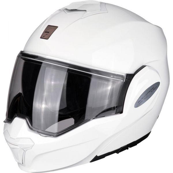 Casti Moto Flip-up (Modulabile) Scorpion Exo Casca Moto Modulara Flip-Back Exo-Tech Solid White
