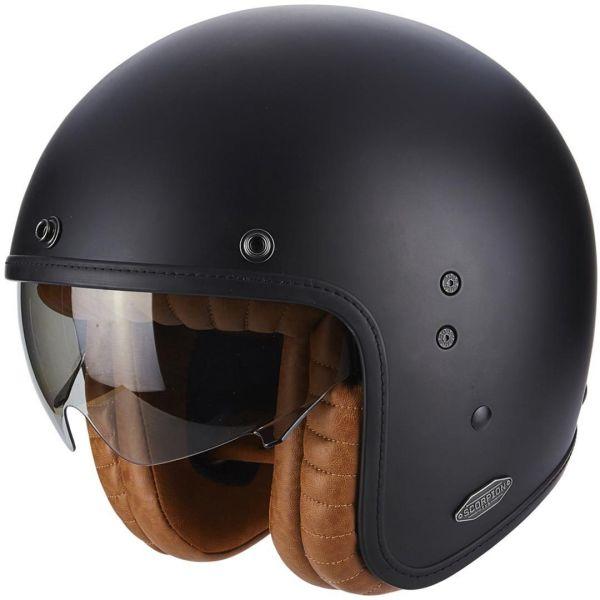 Casti Moto Jet (Open Face) Scorpion Exo Casca Moto Open Face/Jet Belfast Luxe Matt Black
