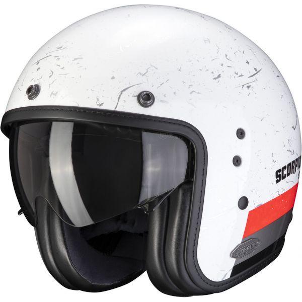 Casti Moto Jet (Open Face) Scorpion Exo Casca Moto Open Face/Jet Belfast Shift White/Neon Red 2021