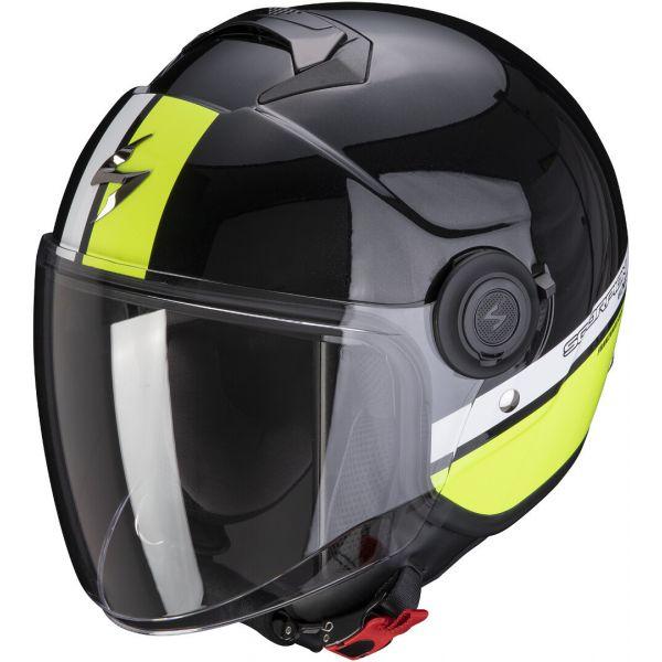 Casti Moto Jet (Open Face) Scorpion Exo Casca Moto Open Face/Jet Exo-City Strada Pearl Black/White/Neon Yellow 2021