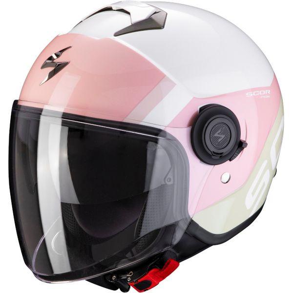 Casti Moto Jet (Open Face) Scorpion Exo Casca Moto Open Face/Jet Exo-City Sympa White/Coral/Green