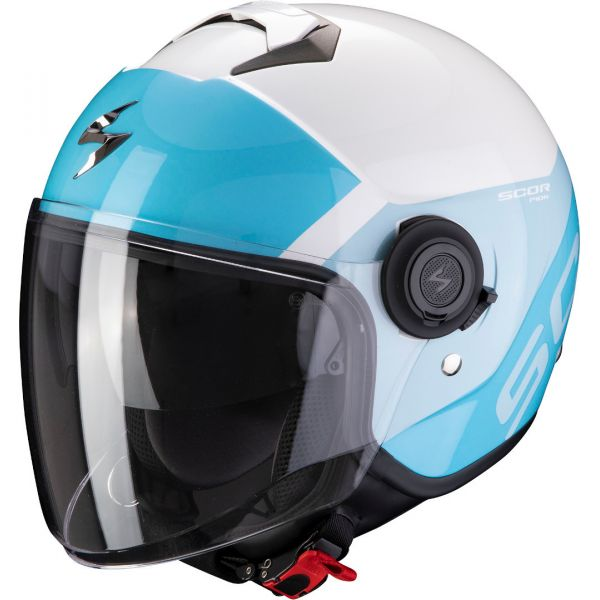 Casti Moto Jet (Open Face) Scorpion Exo Casca Moto Open Face/Jet Exo-City Sympa White/Light Blue