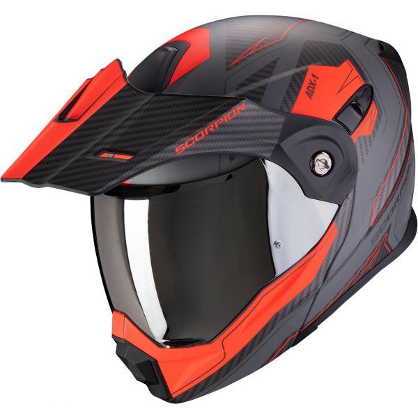 Casti Moto Adventure-Touring Scorpion Exo Casca Moto Touring/Adventure ADX-1 Tucson Matt Cement Grey/Red