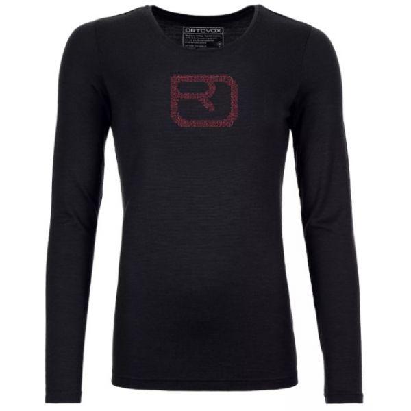 Underlayer Snow Ortovox Bluza Dama 185 Merino Pixel Logo LS Black Raven