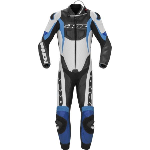 Combinezoane Moto Piele Spidi Combinezon Moto Piele Sport Warrior P Pro Alb/Albastru 2021