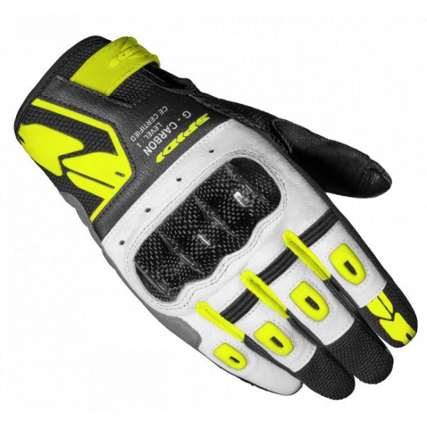 Manusi Moto Dama Spidi Manusi Moto Piele/Textile Sport Dama G-Carbon Negru/Galben 2021