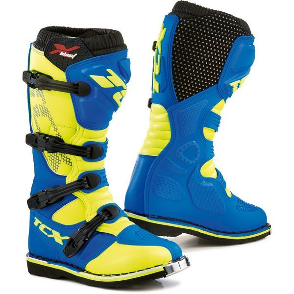 Cizme MX-Enduro Tcx Cizme Moto MX X-BLAST Blue/Yellow Fluo 2021