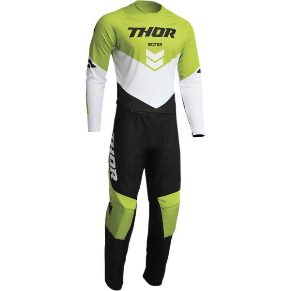 Combo MX Enduro Thor Combo Tricou+Pantaloni Sector Chev Black/Green 2022