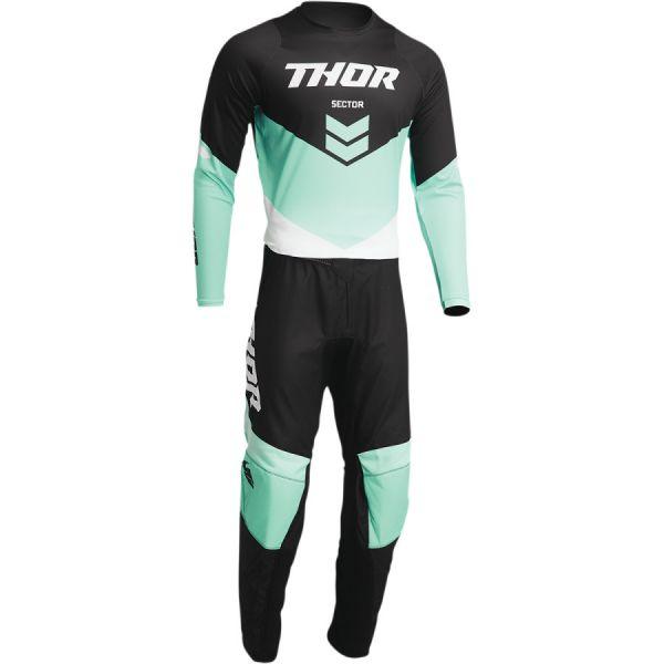 Combo MX Enduro Thor Combo Tricou+Pantaloni Sector Chev Black/Mint 2022