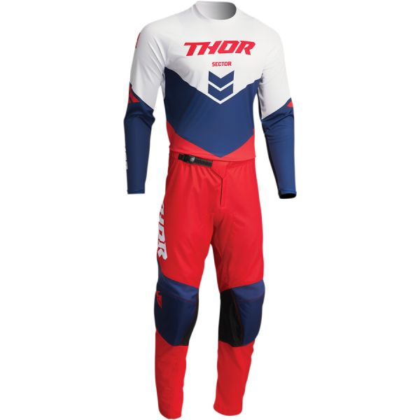 Combo MX Enduro Thor Combo Tricou+Pantaloni Sector Chev Red/Navy 2022