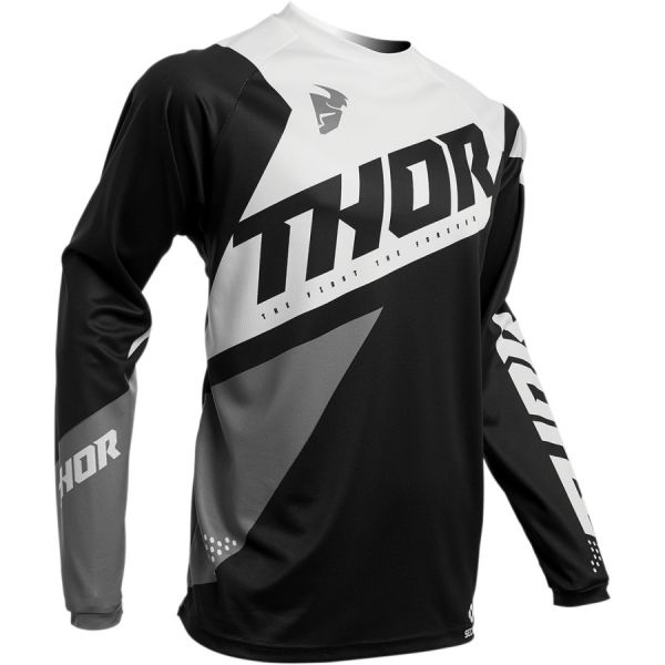 Tricouri MX-Enduro Copii Thor Tricou Copii Pulse Air S20 Black/White