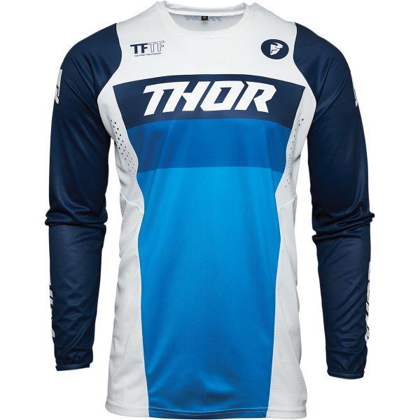 Tricouri MX-Enduro Copii Thor Tricou Mx Copii Pulse Racer Albastru Alb 2021