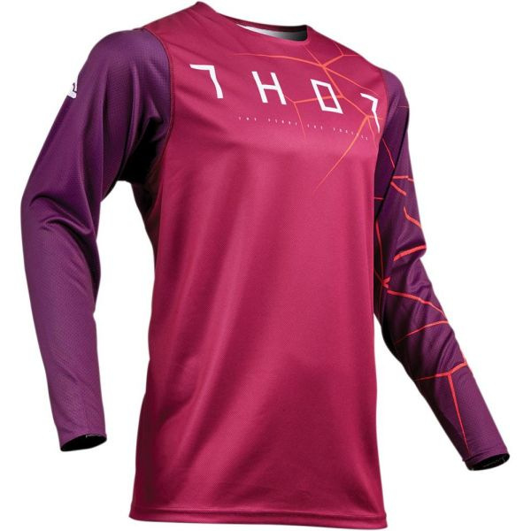 Tricouri MX-Enduro Thor Tricou Prime Pro Infection Maroon/Red Orange S9