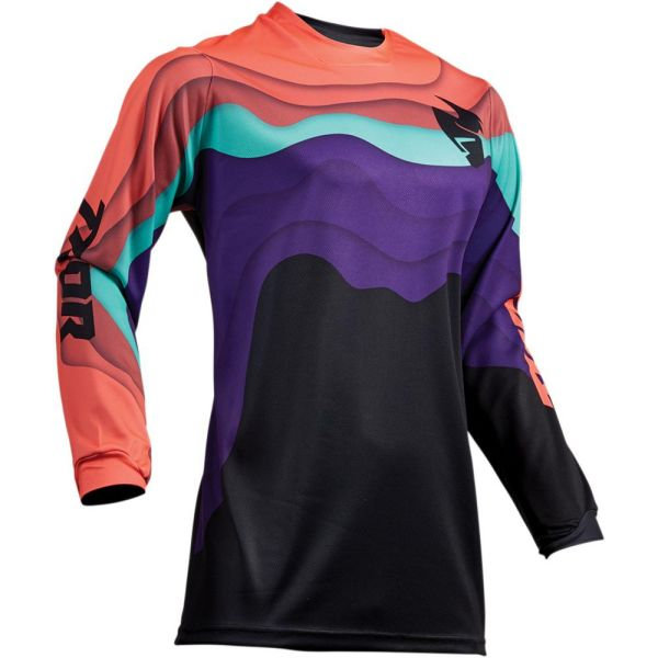 Tricouri MX-Enduro Thor Tricou Pulse Depths Black/Coral S9 Dama