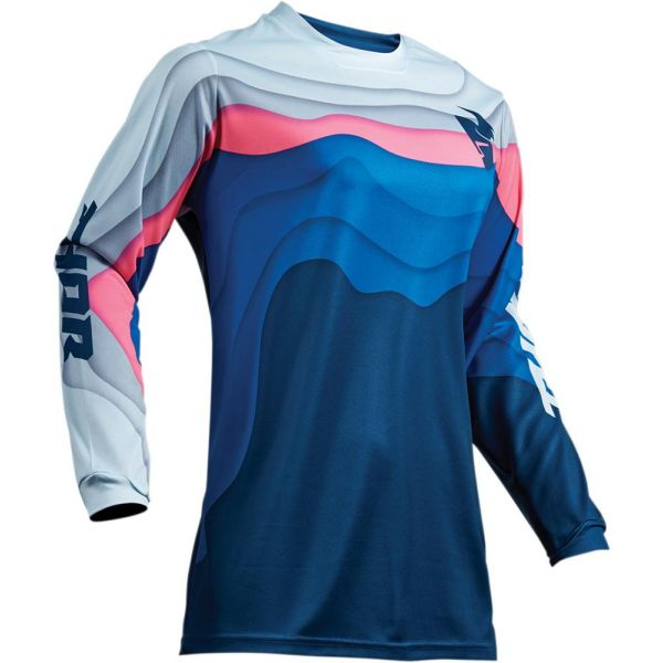 Tricouri MX-Enduro Thor Tricou Pulse Depths Ocean/Pink S9 Dama