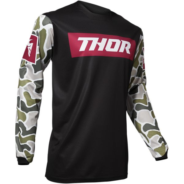 Tricouri MX-Enduro Thor Tricou Pulse Fire Black/Magenta 2020