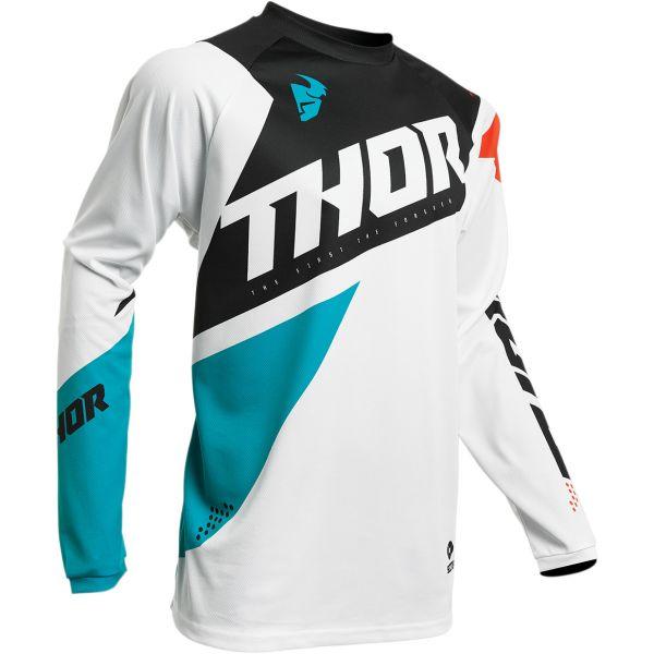 Tricouri MX-Enduro Thor Tricou Sector Blade S20 White/Aqua