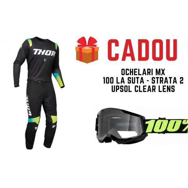 Combo MX Enduro Thor Combo Pantaloni+Tricou Prime Pro United Black/Green 2021