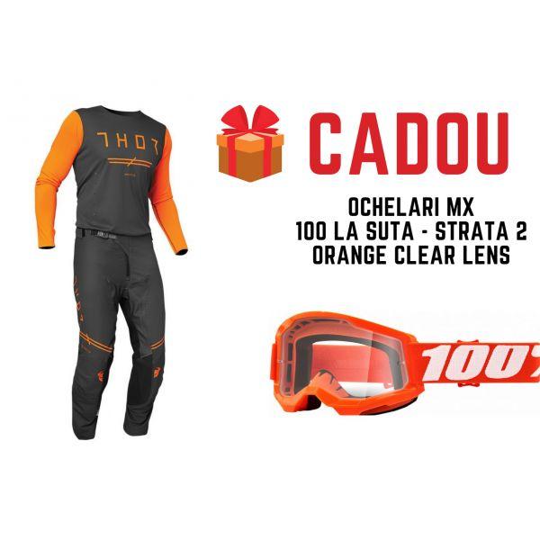 Combo MX Enduro Thor Combo Pantaloni+Tricou Prime Pro United Grey/Orange 2021