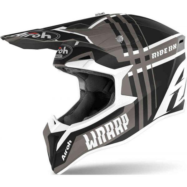 Casti MX-Enduro Airoh Casca Moto MX Wraap Broken Anthracite Matt 2020