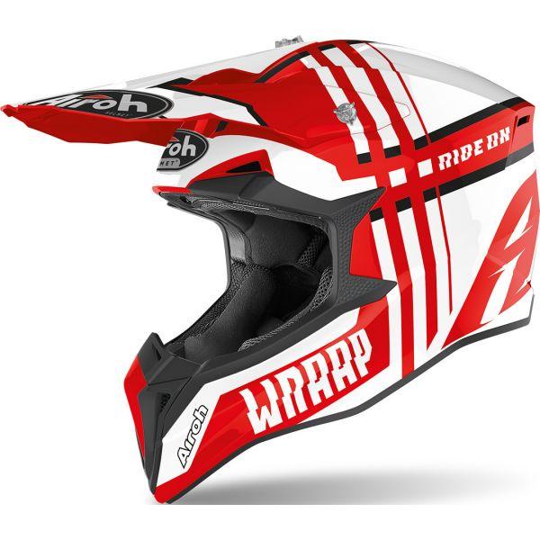 Casti MX-Enduro Airoh Casca Moto MX Wraap Broken Red 2020