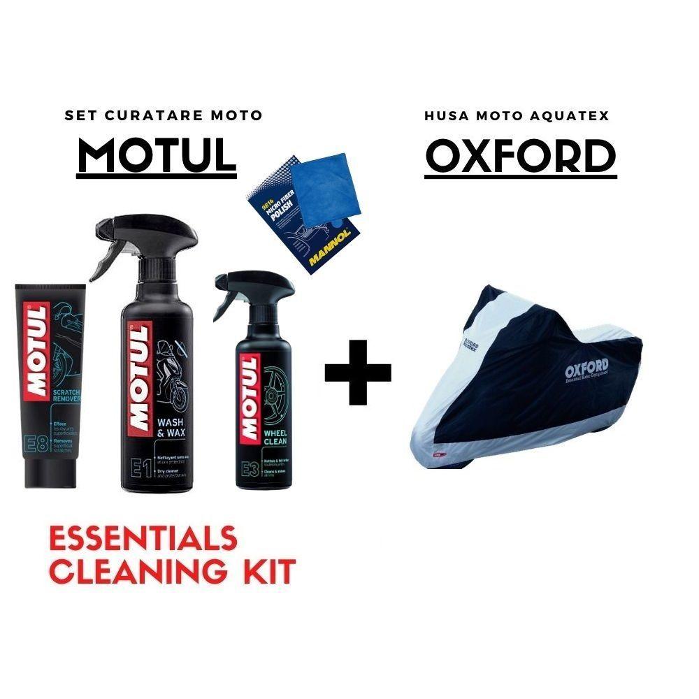 Essentials - Husa OXFORD Moto Ploaie + Set Curatare MOTUL